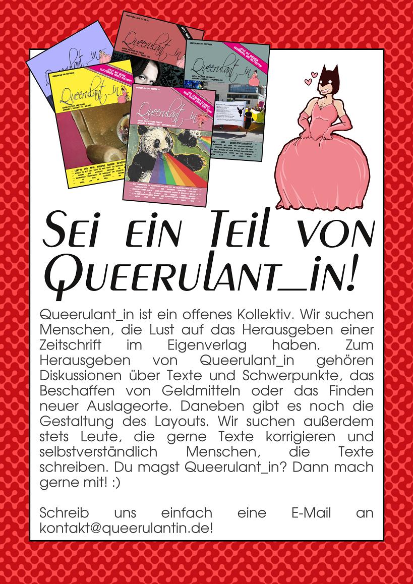 Eigenanzeige Queerulant_in. Textinhalt steht vor dem Bild.